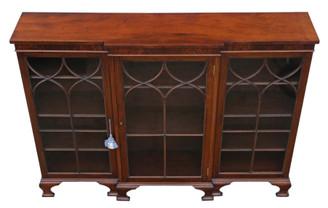 Antique quality Victorian 19th Century mahogany adjustable glazed breakfront bookcase