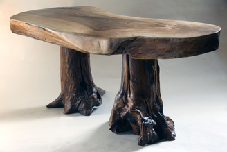 One off fine quality artist created coffee table with an English walnut top