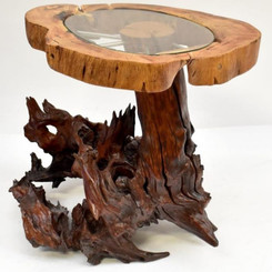 One off fine quality artist created glass topped coffee table on tree root base