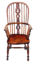 Antique quality Victorian C1860 ash and elm Windsor chair dining armchair