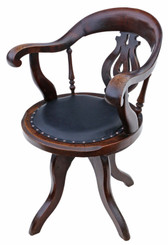 Antique fine quality Victorian C1880 oak and leather swivel desk office chair
