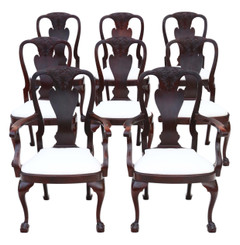 Antique fine quality set of 8 (6+2) carved mahogany dining chairs Queen Anne revival C1910