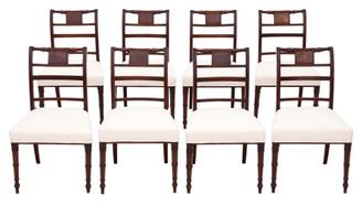 Antique fine Georgian quality set of 8 mahogany dining chairs C1800