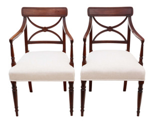 Antique pair of fine quality Regency elbow, carver or desk chairs C1825 X back