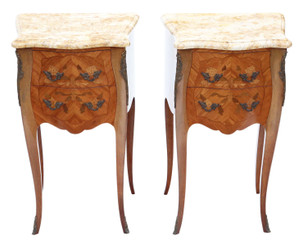 Antique fine quality pair of French marquetry bedside tables cupboards marble