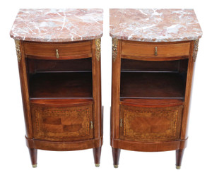 Antique fine quality pair of French marquetry bedside tables cupboards marble C1930