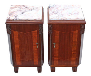 Antique fine quality pair of Art Deco marquetry bedside tables cupboards marble