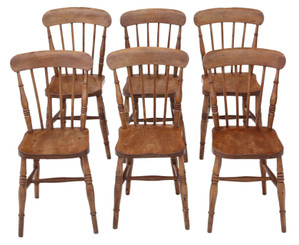 Antique quality set of 6 elm and beech kitchen dining chairs C1900