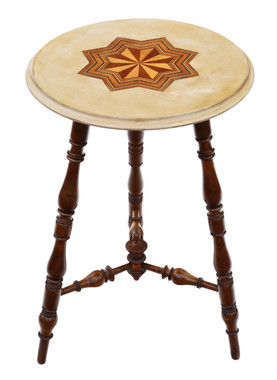 Antique quality Victorian 19th Century decorated and inlaid beech cricket table side occasional