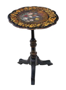 Antique Victorian C1880 hand decorated papier mache tilt top tea supper wine table