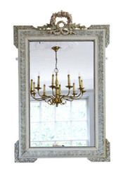 Antique large quality French decorated overmantle wall mirror 19th Century