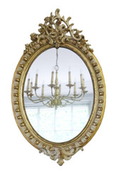 Antique large quality oval gilt and cream decorated overmantle or wall mirror 19th Century