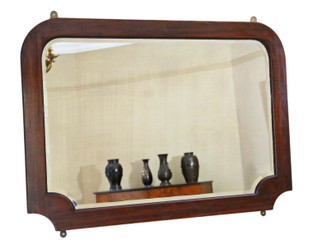 Antique large quality Art Nouveau mahogany wall mirror or overmantle C1915