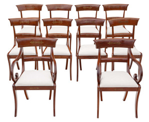 Antique fine quality set of 10 (8+2) Regency mahogany 19th Century dining chairs