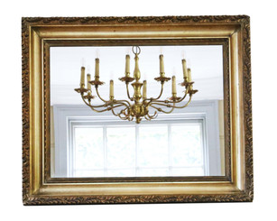 Antique large quality gilt 19th Century overmantle or wall mirror