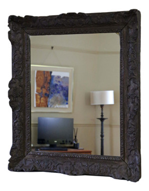Antique large quality carved oak 19th Century overmantle or wall mirror