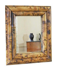 Antique quality bamboo overmantle or wall mirror mid 20th Century