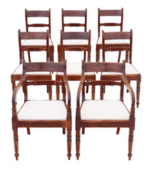 Antique fine quality set of 8 (6+2) Regency mahogany dining chairs 19th Century C1825