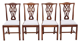 Antique quality set of 4 mahogany dining chairs C1900 Georgian Chippendale revival