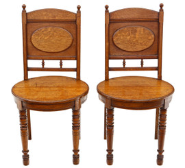 Antique quality pair of oak hall side or bedroom chairs C1880 19th Century