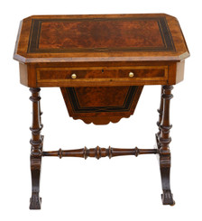 Antique fine quality Victorian C1880 inlaid burr walnut amboyna work side sewing table box Aesthetic