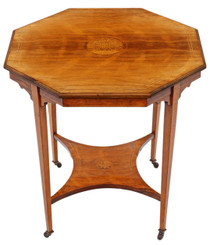Antique fine quality inlaid 19th Century rosewood octagonal centre or window table occasional side