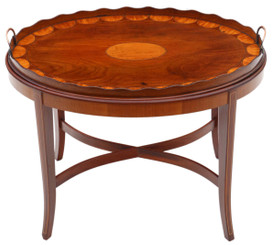Antique fine quality Edwardian mahogany and satin walnut tray on stand coffee table C1905