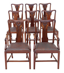 Antique fine quality set of 8 (6+2) inlaid mahogany dining chairs Art Nouveau C1910