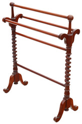 Antique quality mahogany towel rail stand 19th Century Victorian