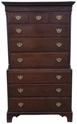 Antique fine quality 18th Century Georgian oak tallboy chest on chest of drawers