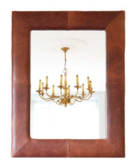 Retro quality large brown leather overmantle or wall mirror from Hoste Arms, Burnham Market