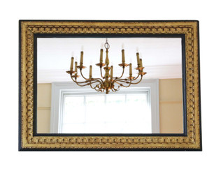 Antique quality large black and gilt 19th Century overmantle or wall mirror