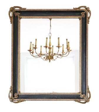 Antique quality large gilt and black 19th Century overmantle or wall mirror