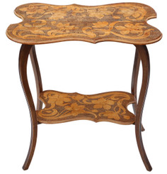 Antique quality C1900 shaped beech pokerwork occasional side table