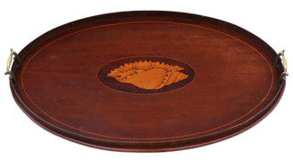 Antique quality 19th Century inlaid mahogany oval tea serving tray