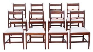 Antique fine quality set of 8 Georgian mahogany dining chairs 19th Century C1800