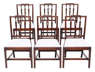 Antique fine quality set of 6 Georgian mahogany dining chairs 19th Century C1820
