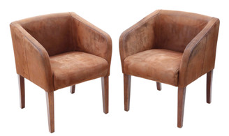 Retro Vintage pair of brown suede leather club style dining or armchairs chairs