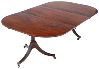 """Antique large ~7'10"""" x 4'6"""" fine quality Regency C1830 mahogany extending dining table pedestal 19th Century"""