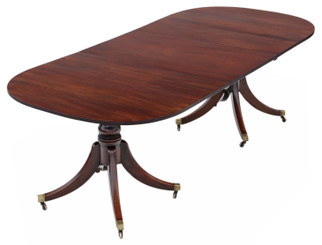 """Antique large ~7'8"""" x 3'6"""" fine quality mahogany extending pedestal dining table 19th Century"""