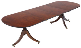 """Antique large fine quality mahogany extending pedestal dining table ~9'6"""" x 3'6"""""""