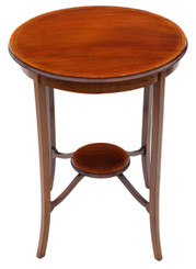 Antique fine quality C1910 Edwardian inlaid mahogany circular table occasional side centre window