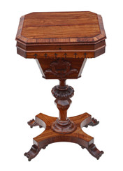 Antique fine quality Victorian C1860 rosewood Gothic work side sewing table box