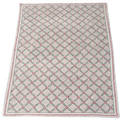 Antique large beige pink and green hand knotted Abusson wool rug