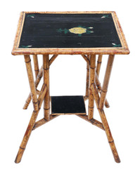 Antique quality C1900 bamboo black lacquer occasional window table