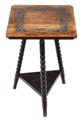 Antique quality C1910 carved oak tripod occasional side table