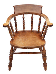 Antique quality elm and beech bow armchair elbow desk chair Victorian C1890