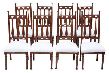Antique quality set of 8 mahogany Art Nouveau dining chairs C1910