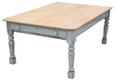 Antique large ~6' x 4' quality pine scrub top kitchen dining table 19th Century