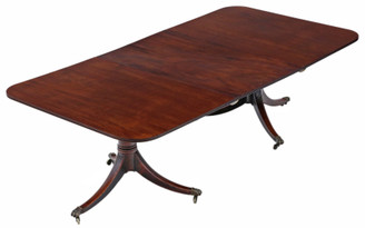"Antique large ~7'6"" x 3'10 fine quality Georgian C1815 mahogany extending pedestal dining table 19th Century"